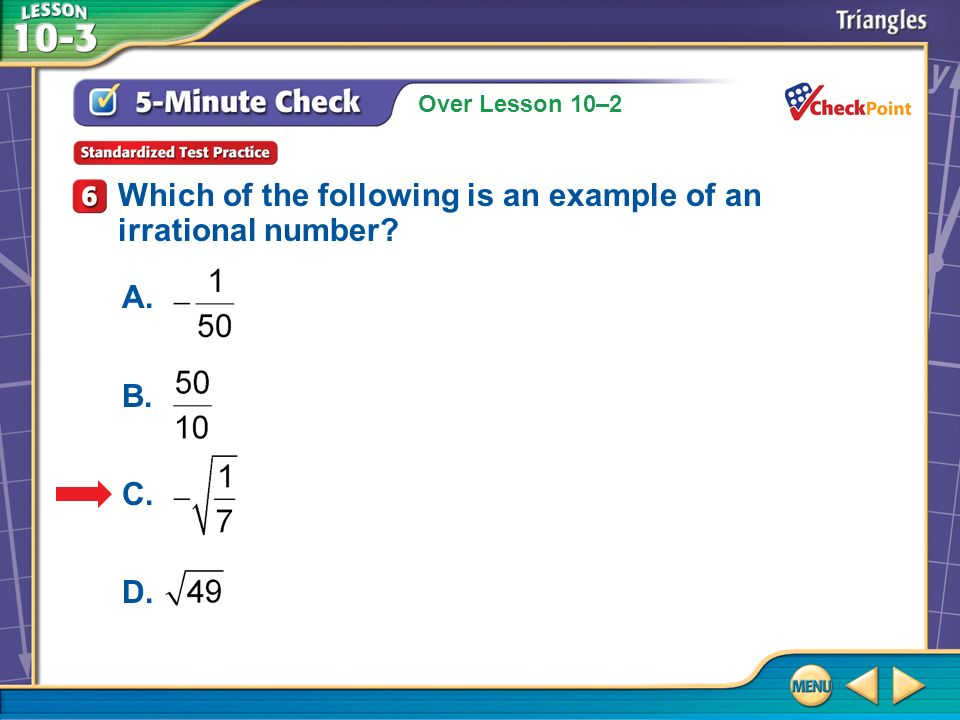 Which of the following is an example of an irrational number