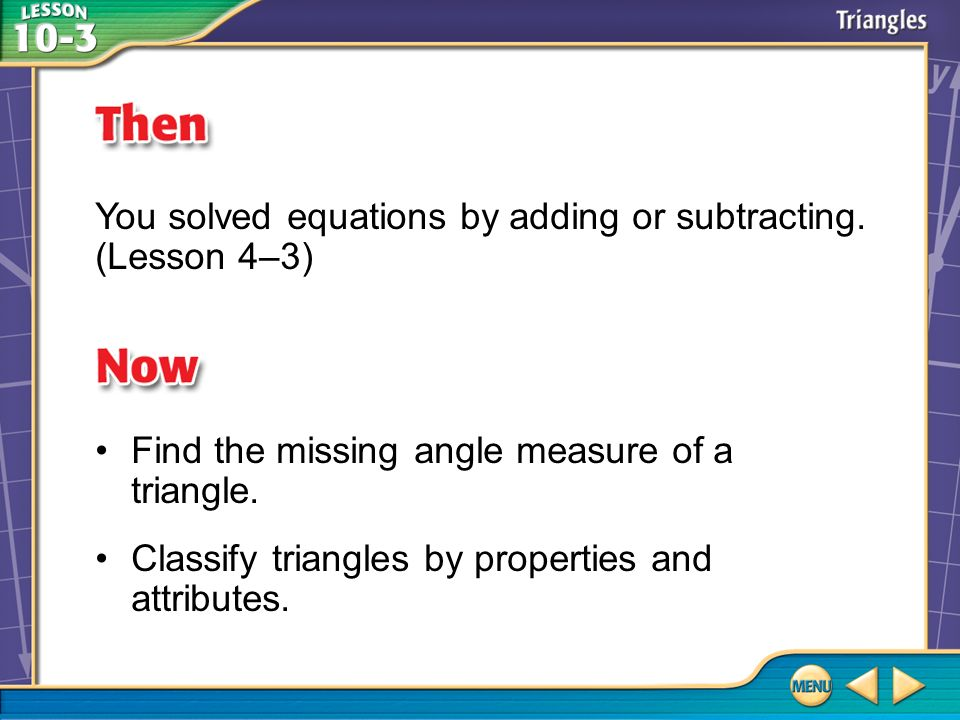 You solved equations by adding or subtracting. (Lesson 4–3)