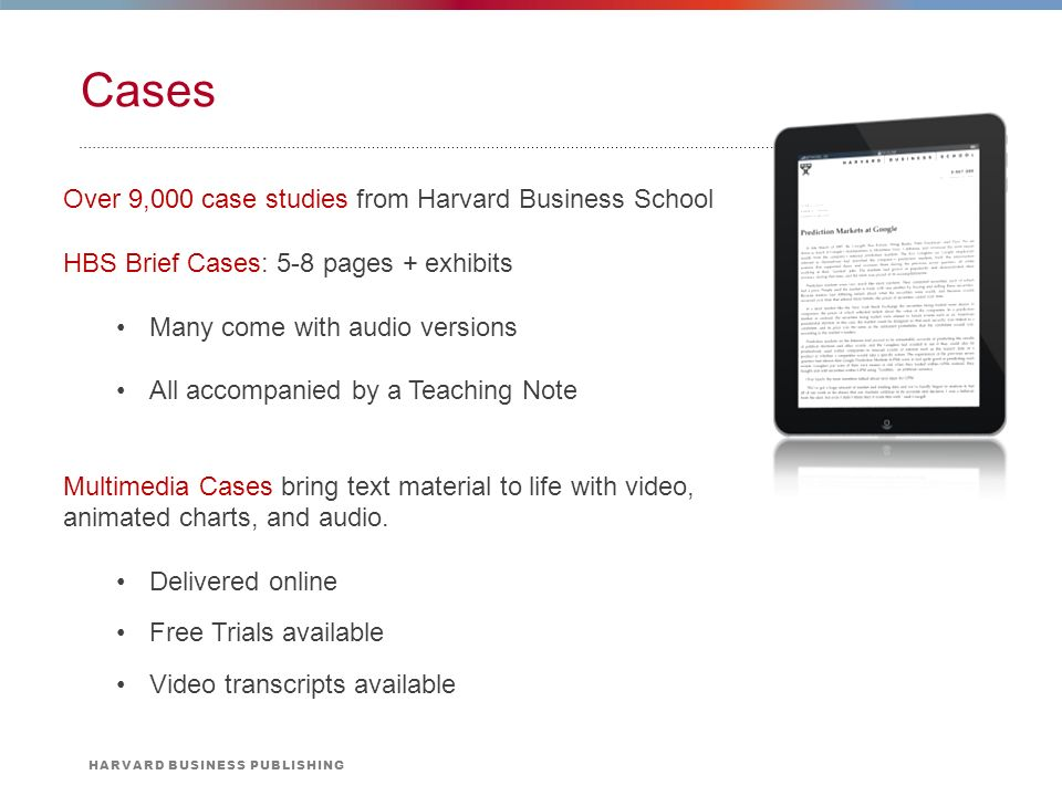 harvard business case studies for educators View abstract and ordering information for case studies written and  available for purchase at harvard business  available for purchase at the case centre.