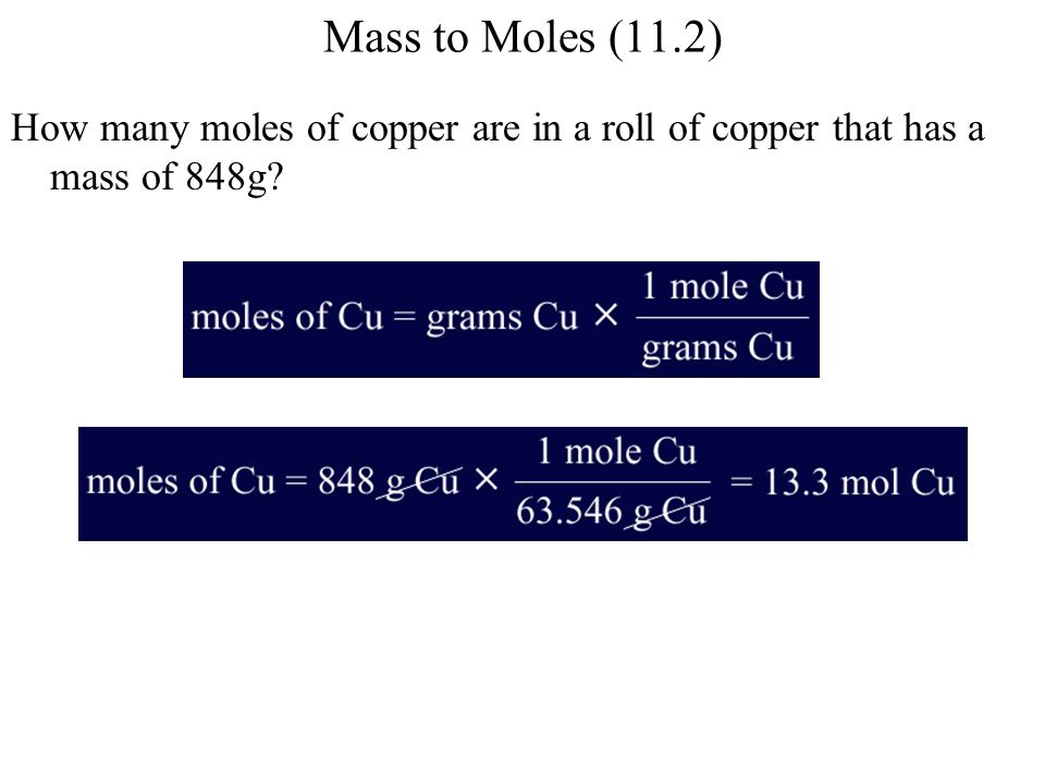 Mass to Moles (11.2) How many moles of copper are in a roll of copper that has a mass of 848g