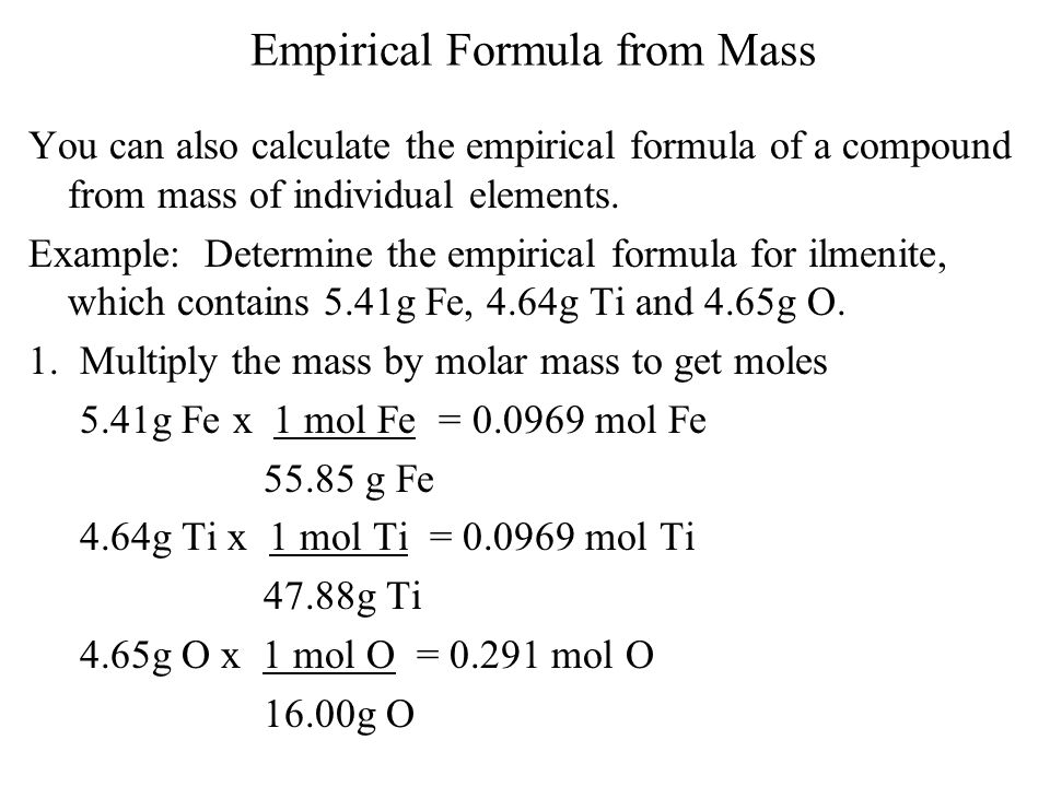 Empirical Formula from Mass