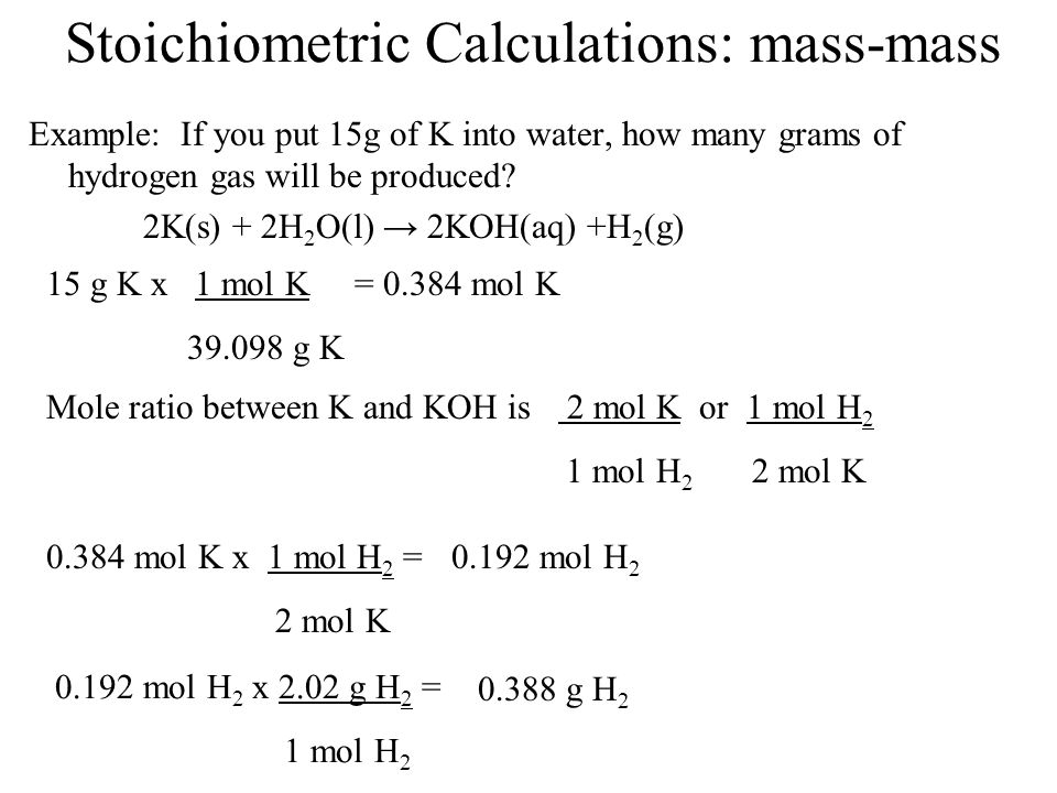 Stoichiometric Calculations: mass-mass