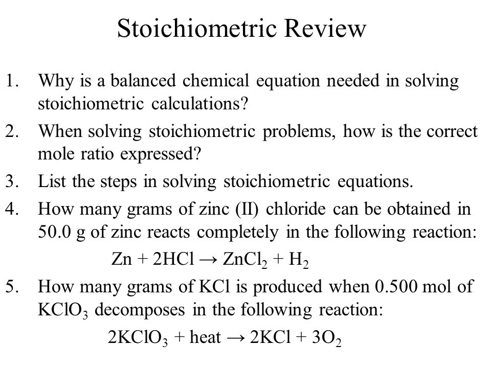 Stoichiometric Review