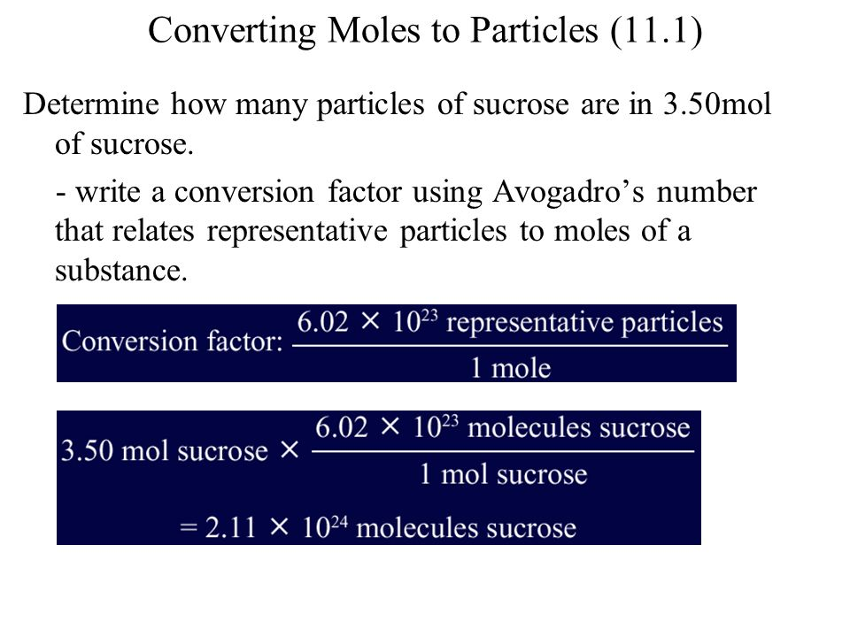 Converting Moles to Particles (11.1)