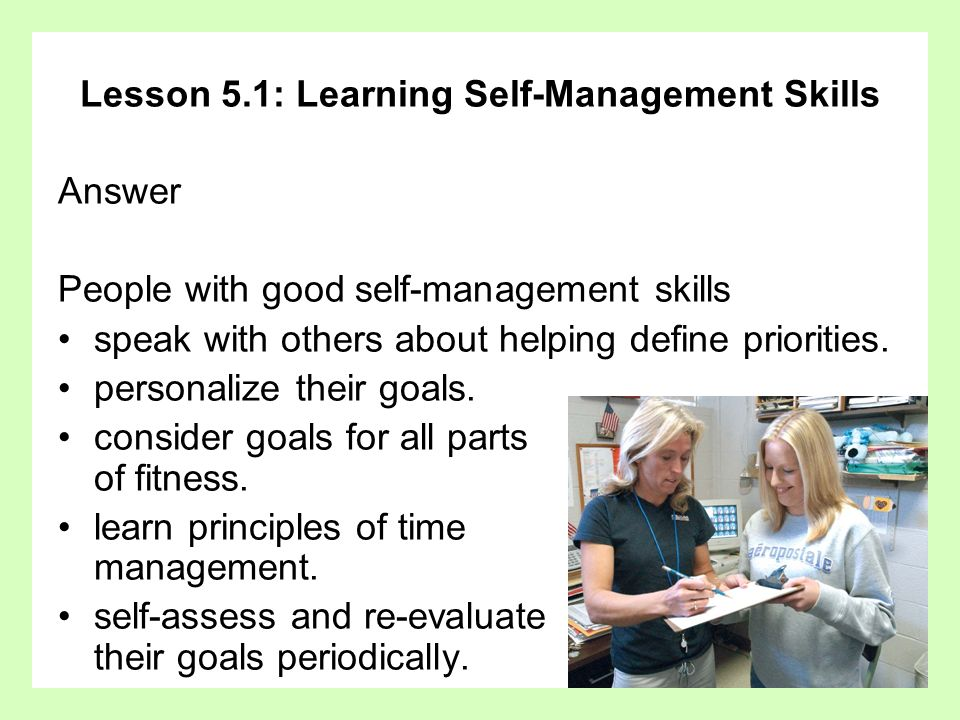 Lesson 5.1: Learning Self-Management Skills