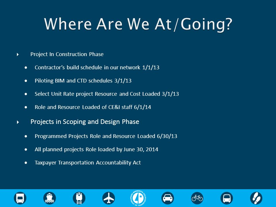 Where Are We At/Going Projects in Scoping and Design Phase