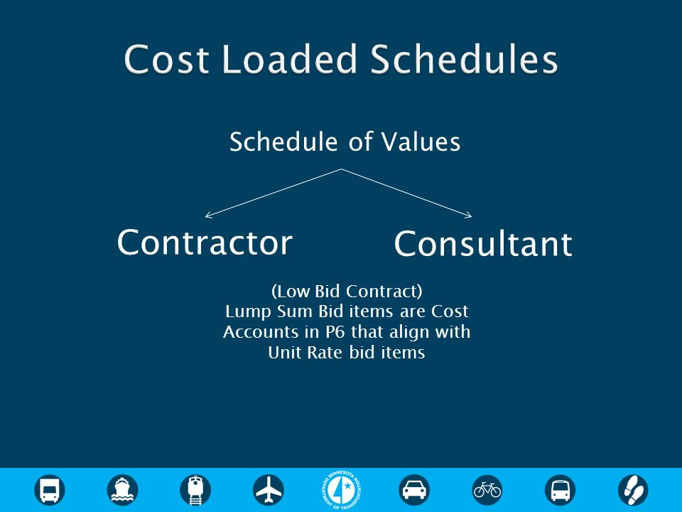 Cost Loaded Schedules Contractor Consultant Schedule of Values