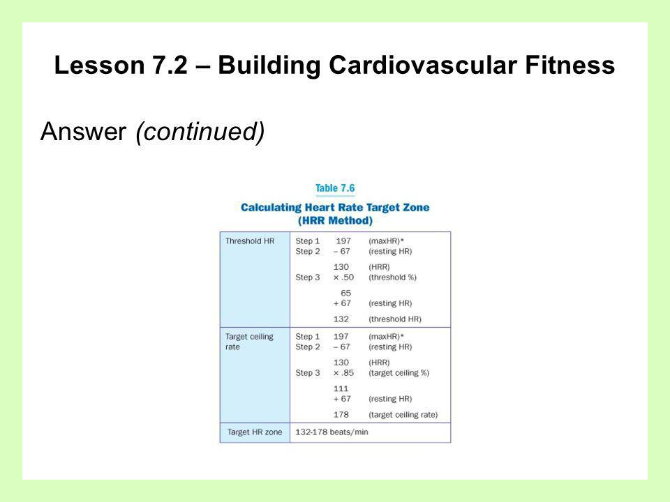 Lesson 7.2 – Building Cardiovascular Fitness