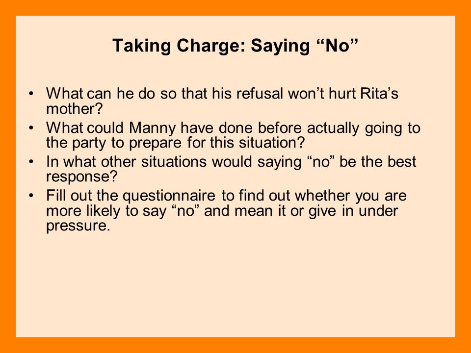 Taking Charge: Saying No