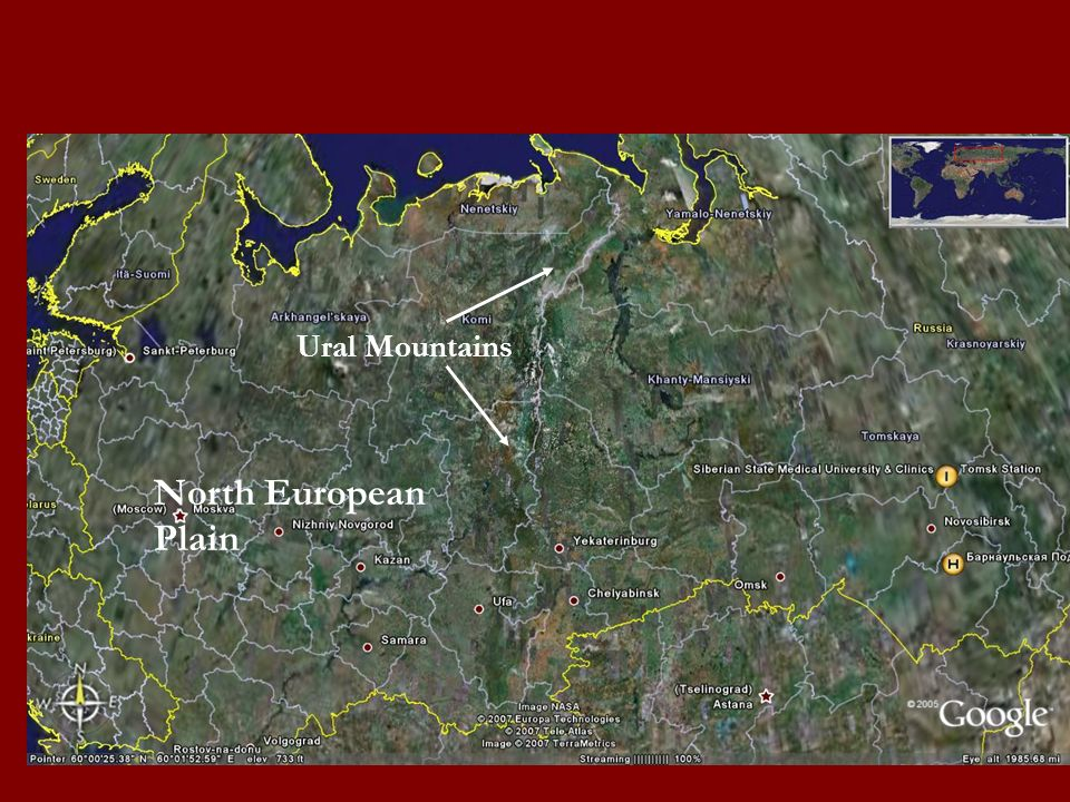 Ural Mountains North European Plain