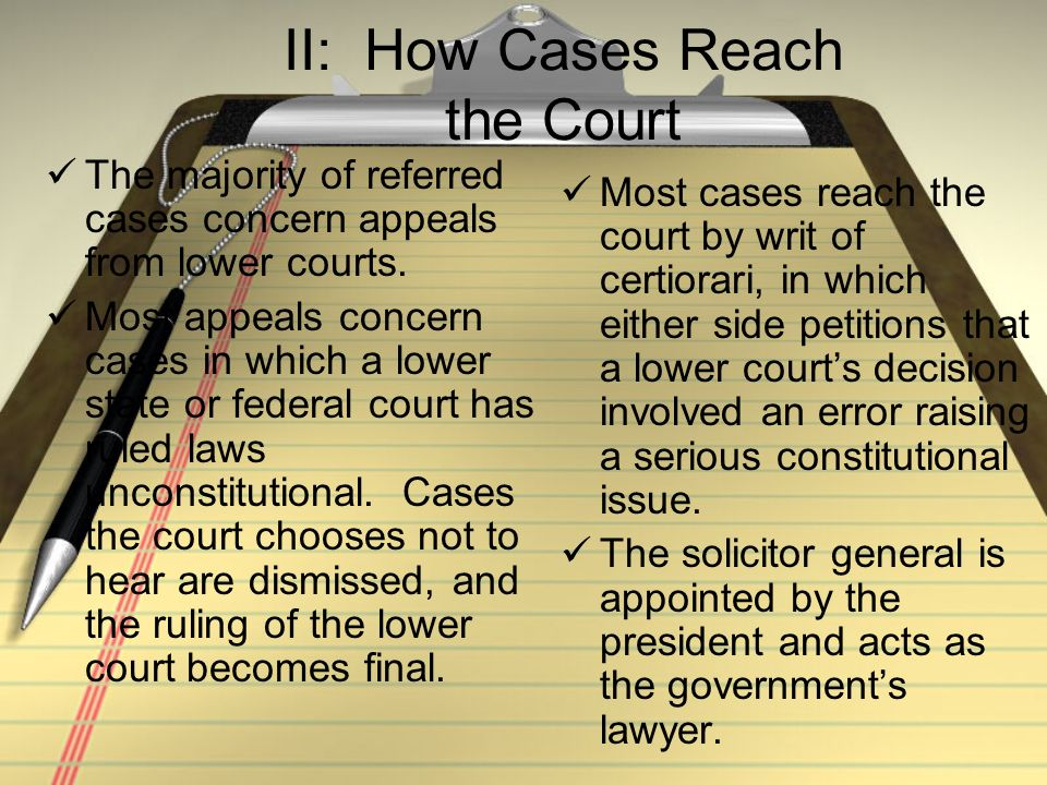 II: How Cases Reach the Court
