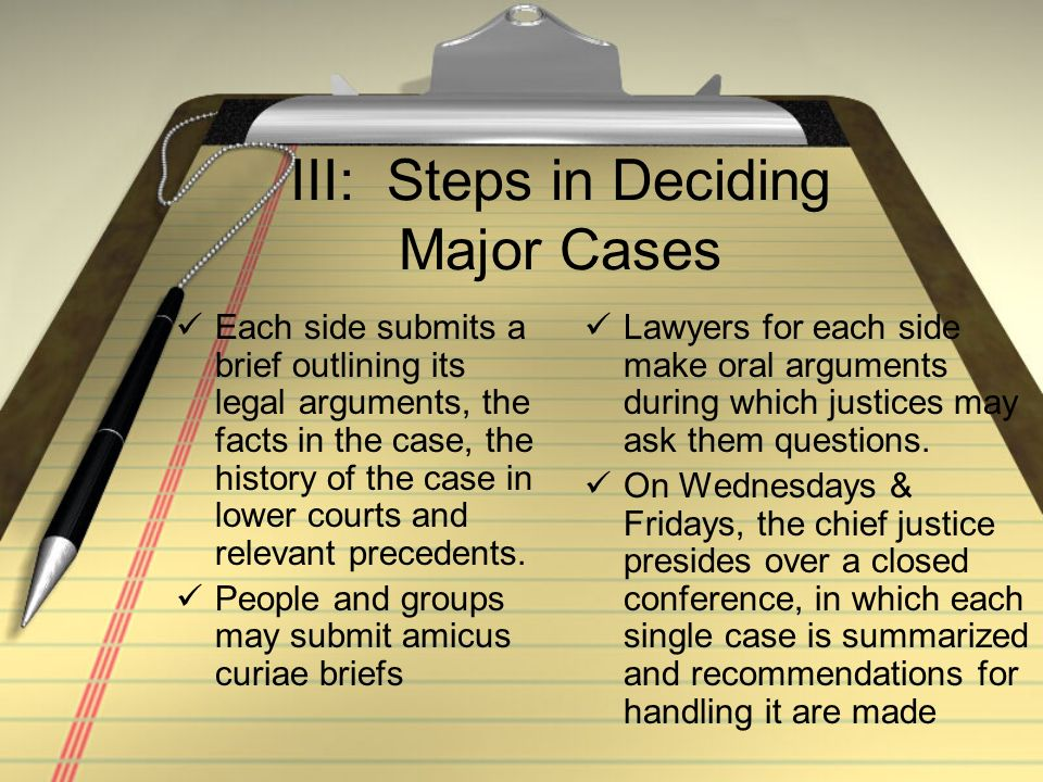 III: Steps in Deciding Major Cases