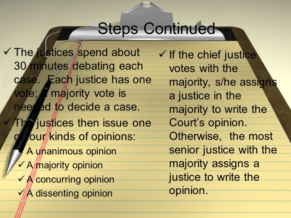 Steps Continued The justices spend about 30 minutes debating each case. Each justice has one vote; a majority vote is needed to decide a case.
