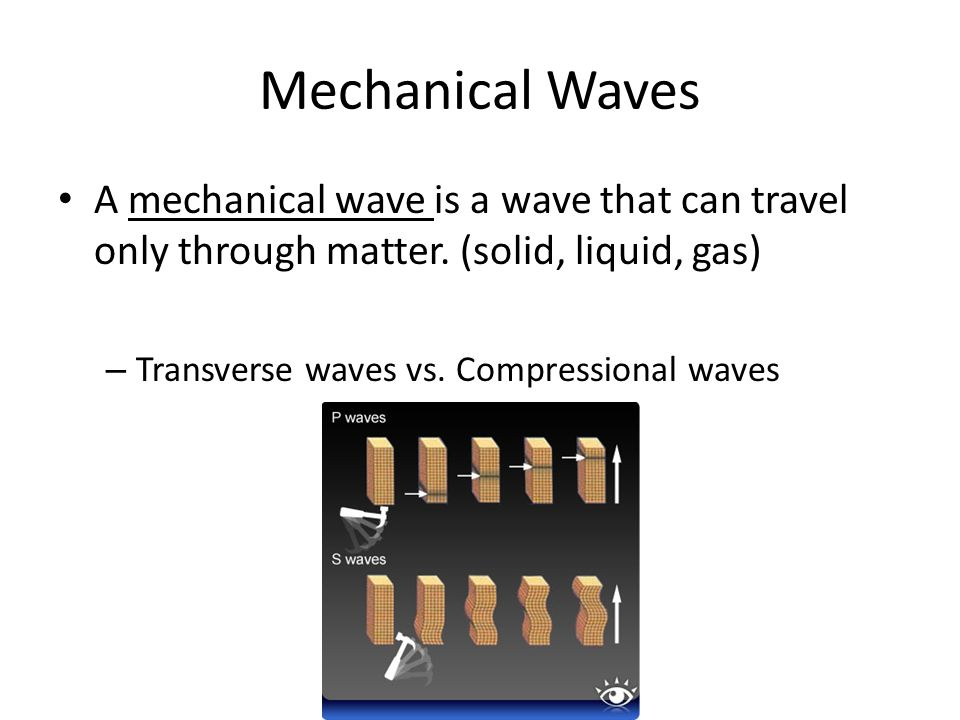 Mechanical WavesA mechanical wave is a wave that can travel only through matter. (solid, liquid, gas)