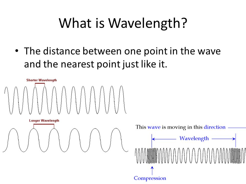 What is Wavelength The distance between one point in the wave and the nearest point just like it.