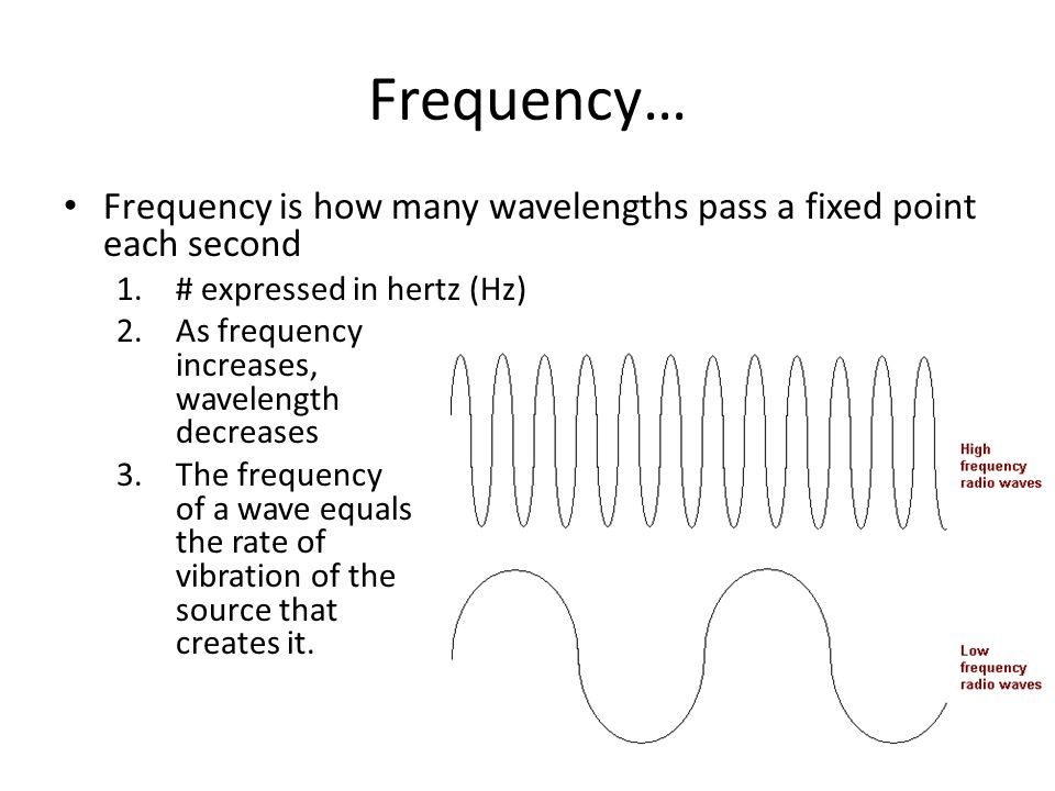 Frequency…Frequency is how many wavelengths pass a fixed point each second. # expressed in hertz (Hz)