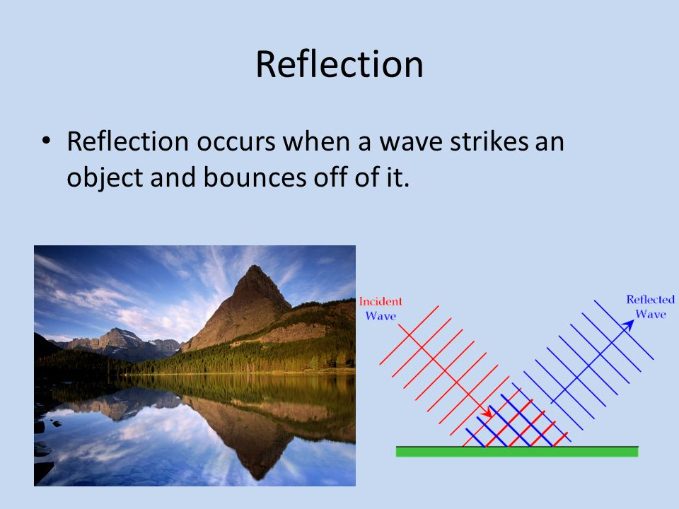 Reflection Reflection occurs when a wave strikes an object and bounces off of it.