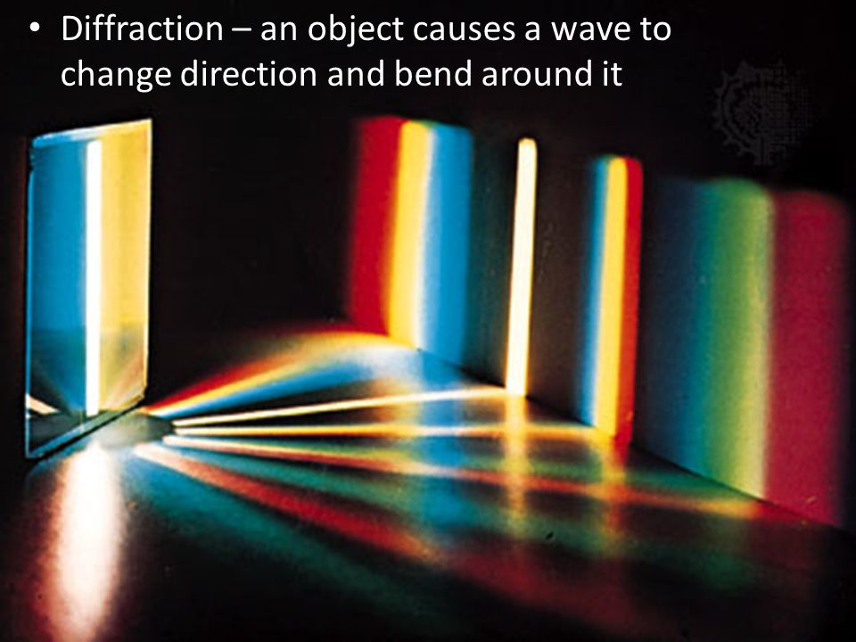 Diffraction – an object causes a wave to change direction and bend around it
