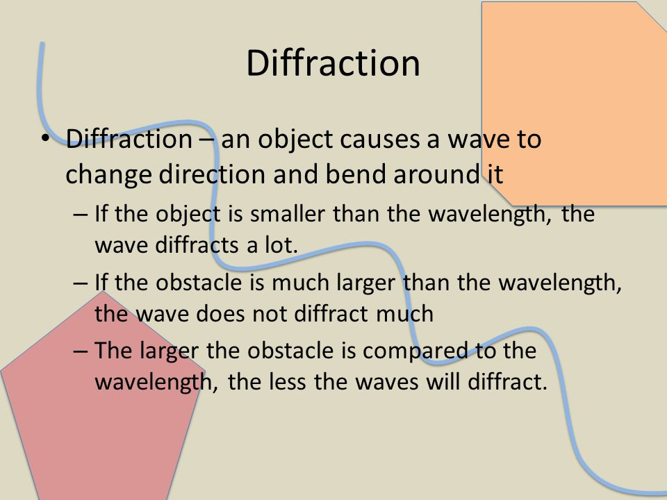 DiffractionDiffraction – an object causes a wave to change direction and bend around it.