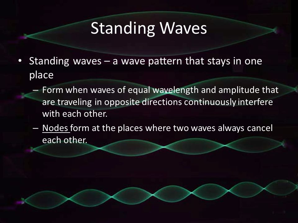 Standing Waves Standing waves – a wave pattern that stays in one place