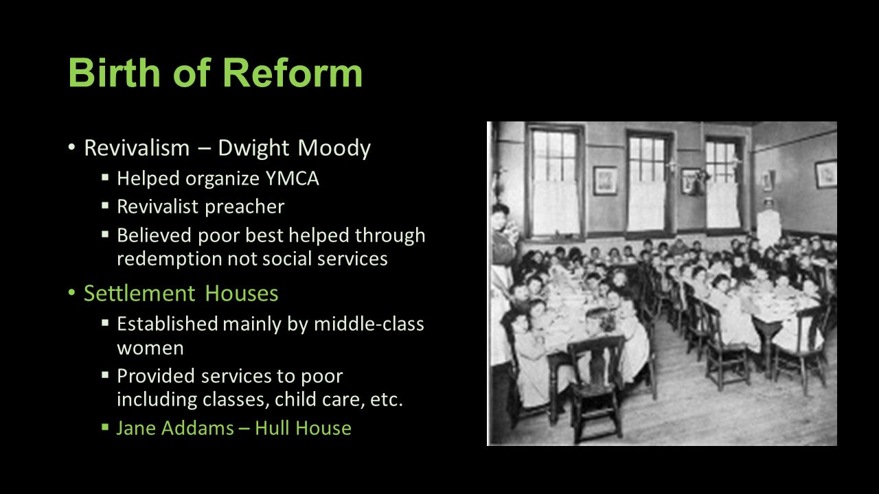 Birth of Reform Revivalism – Dwight Moody Settlement Houses