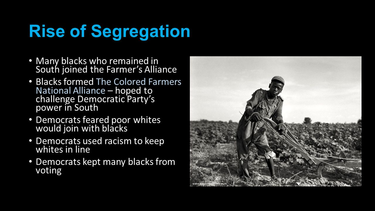 Rise of Segregation Many blacks who remained in South joined the Farmer's Alliance.