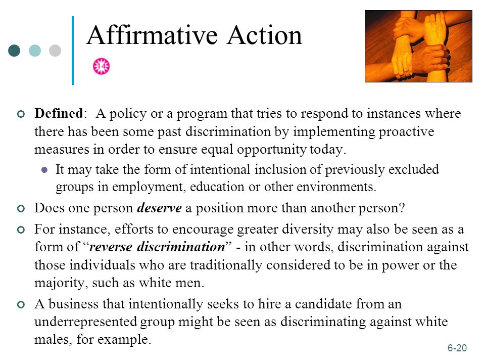 affirmative action diversity for individuals to Diversity, equal opportunity and affirmative action  and educational institution  and prohibits illegal discrimination against any individual.