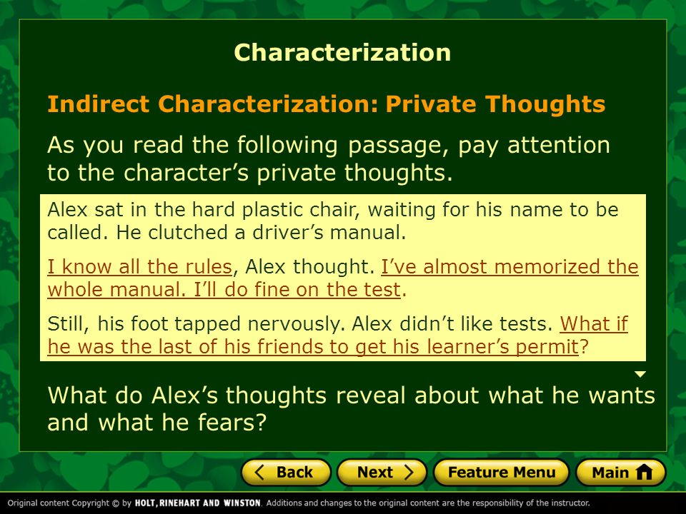 Characterization Indirect Characterization: Private Thoughts