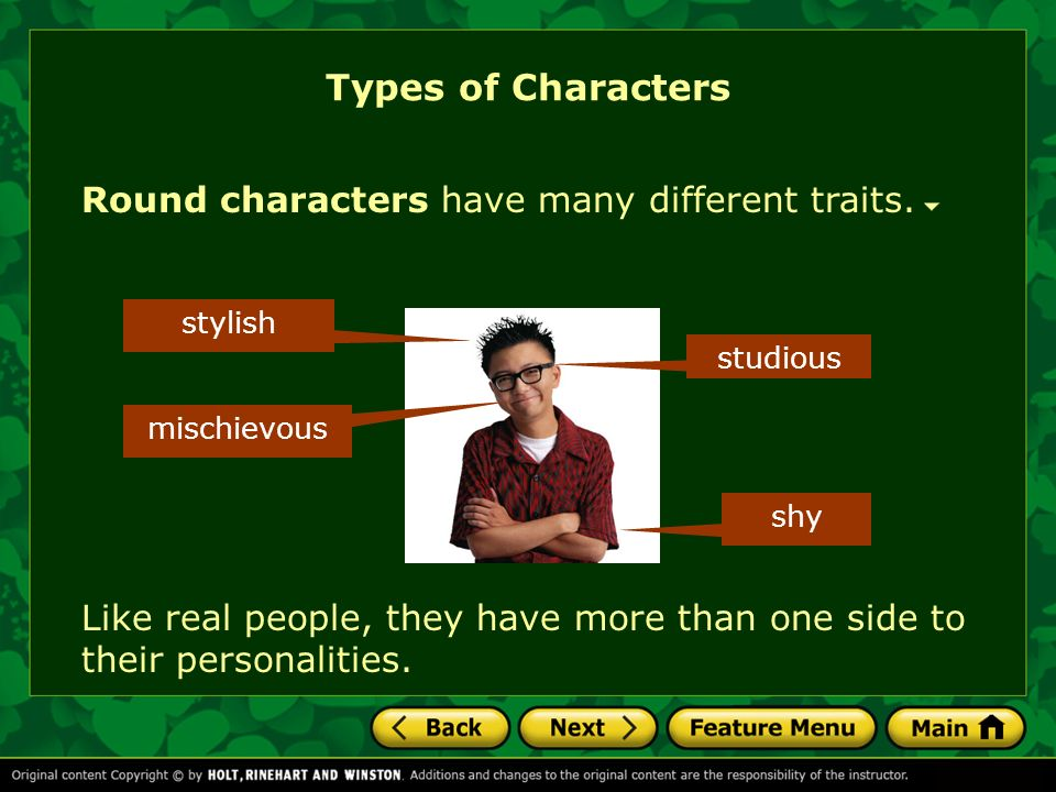 Types of Characters Round characters have many different traits.