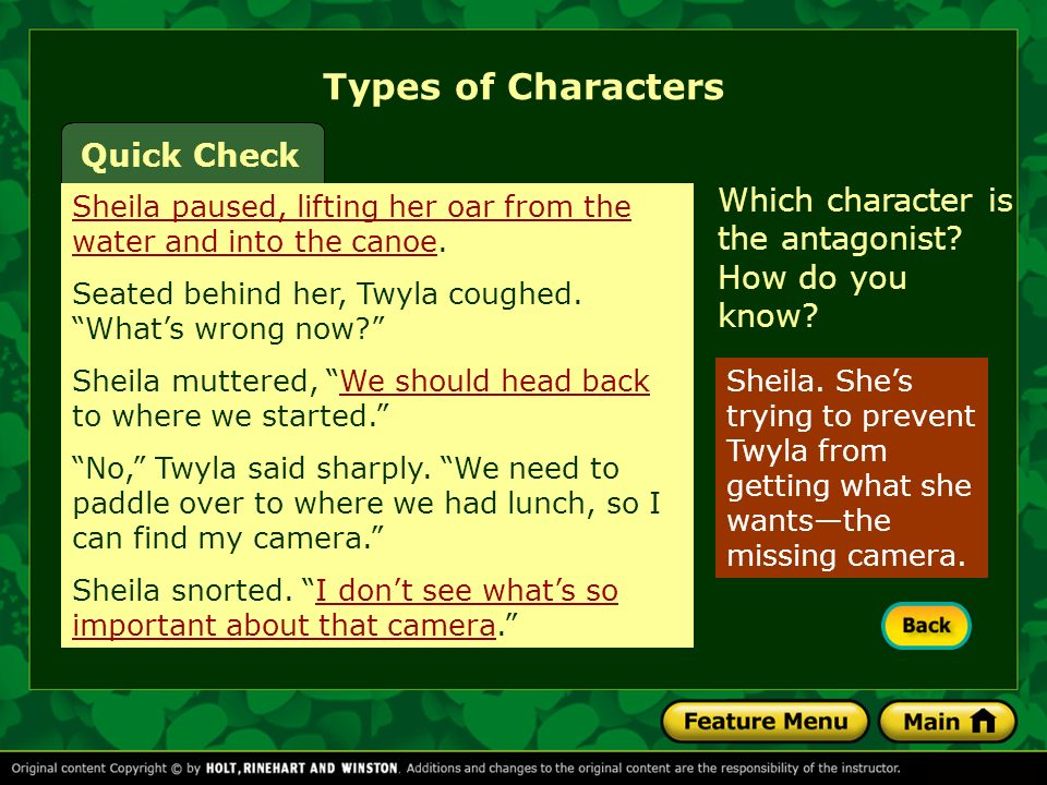 Types of Characters Quick Check