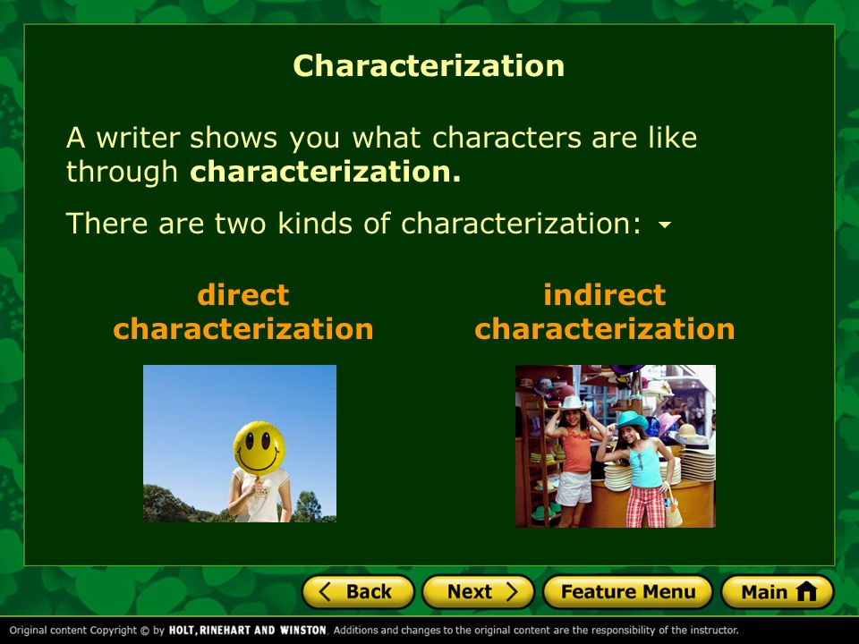 direct characterization indirect characterization