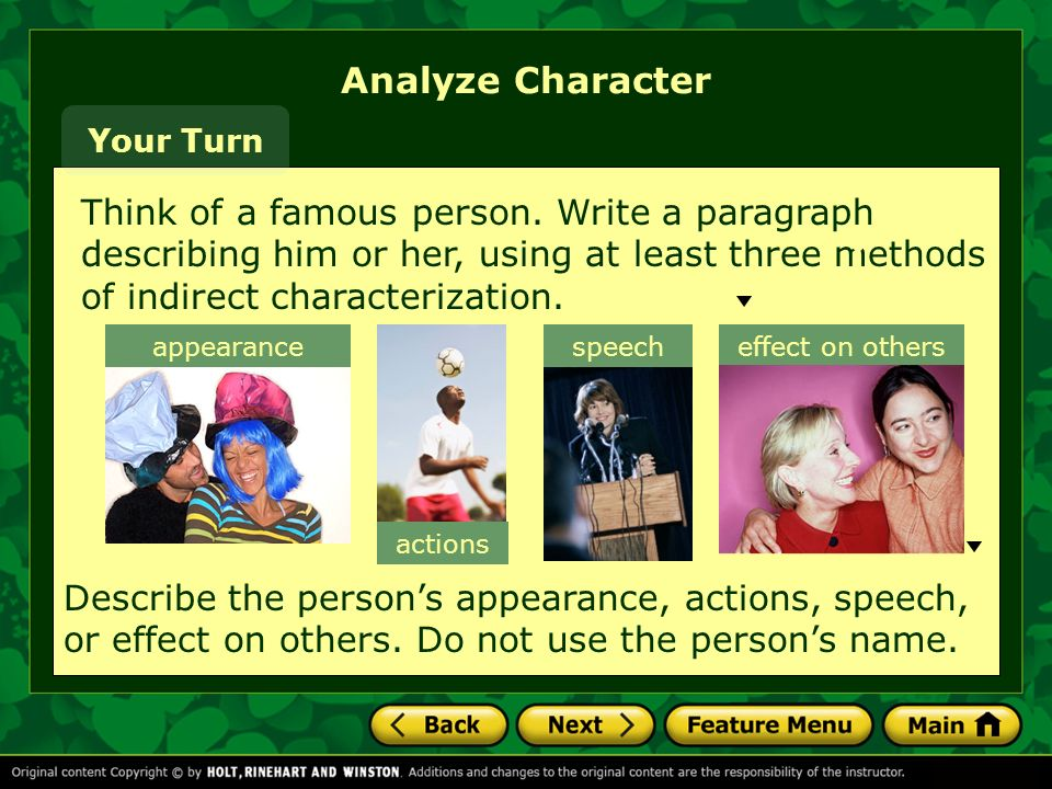 Analyze Character Your Turn.