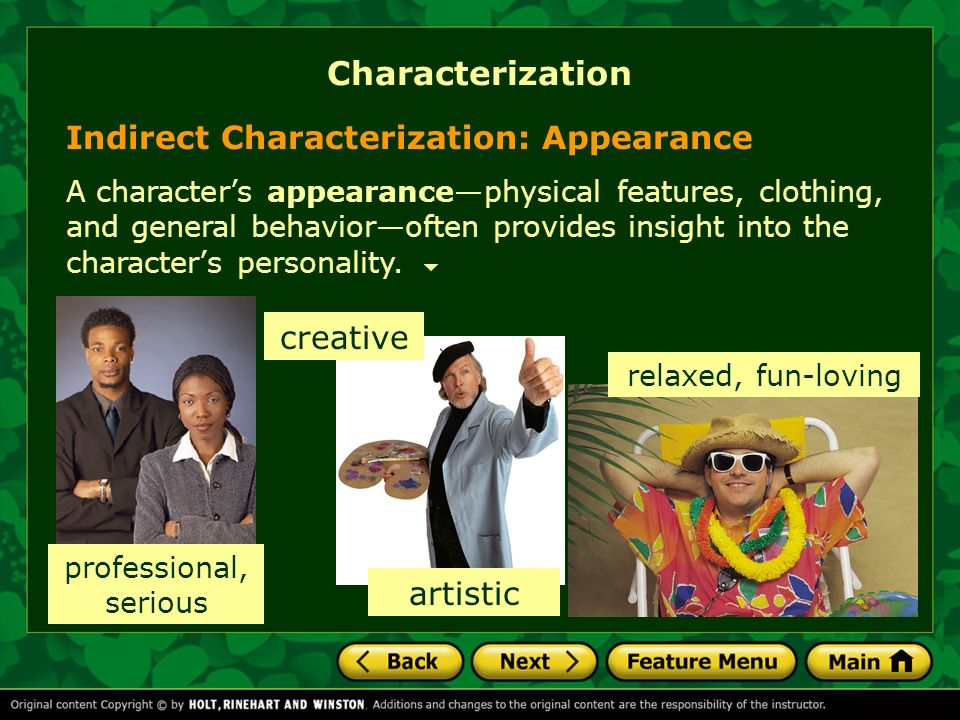 Characterization Indirect Characterization: Appearance creative