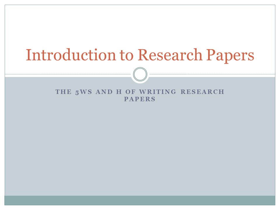 Introduction to Research Papers
