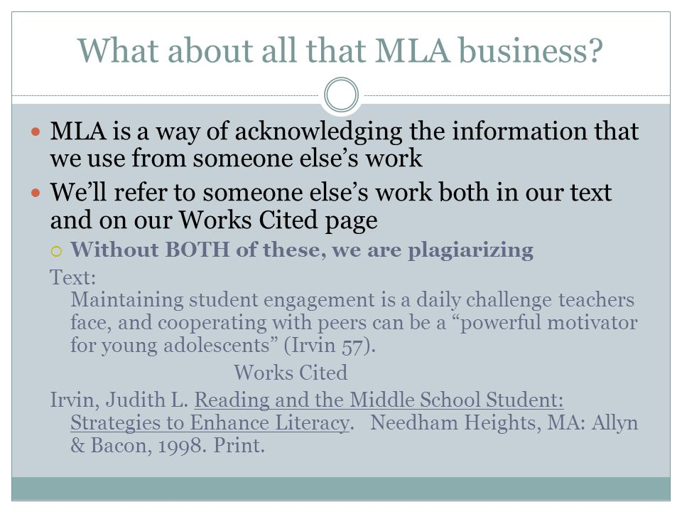 What about all that MLA business