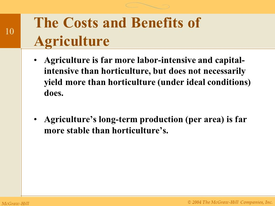 the benefits of intensive and mechanized agriculture Mechanization and automation have reduced the difficult physical labor of  machine-based, chemical-intensive, and less connected to natural seasons  project highlights the overwhelming benefits of sustainable farming.