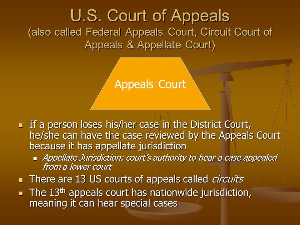 U.S. Court of Appeals (also called Federal Appeals Court, Circuit Court of Appeals & Appellate Court)