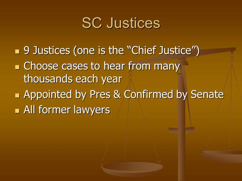 SC Justices 9 Justices (one is the Chief Justice )