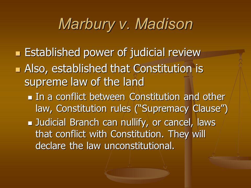 Marbury v. Madison Established power of judicial review