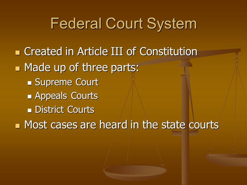 Federal Court System Created in Article III of Constitution