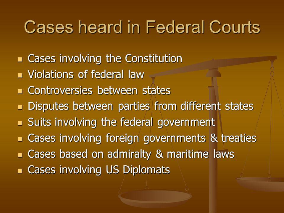 Cases heard in Federal Courts