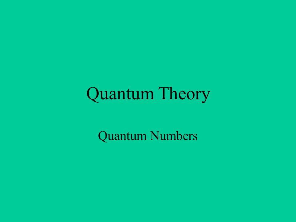 Quantum Theory Quantum Numbers