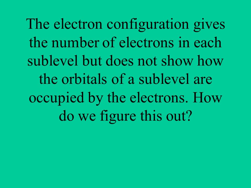 The electron configuration gives the number of electrons in each sublevel but does not show how the orbitals of a sublevel are occupied by the electrons.