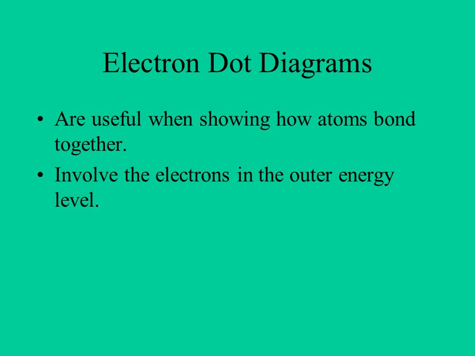 Electron Dot Diagrams Are useful when showing how atoms bond together.