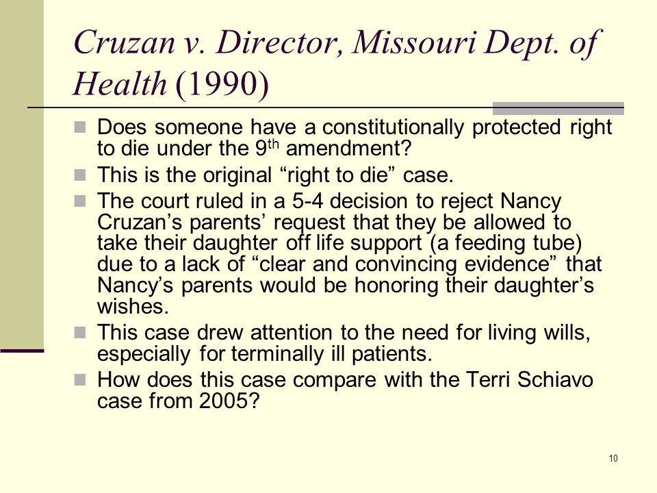 cruzan v missouri [solved]cruzan v director, missouri department of health is a case studied in the right-to-die debate what precedent did it help to establish.
