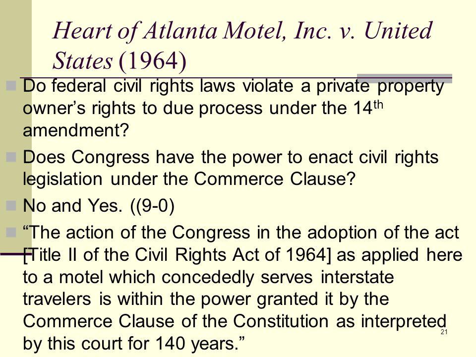 Heart of Atlanta Motel, Inc. v. United States (1964)