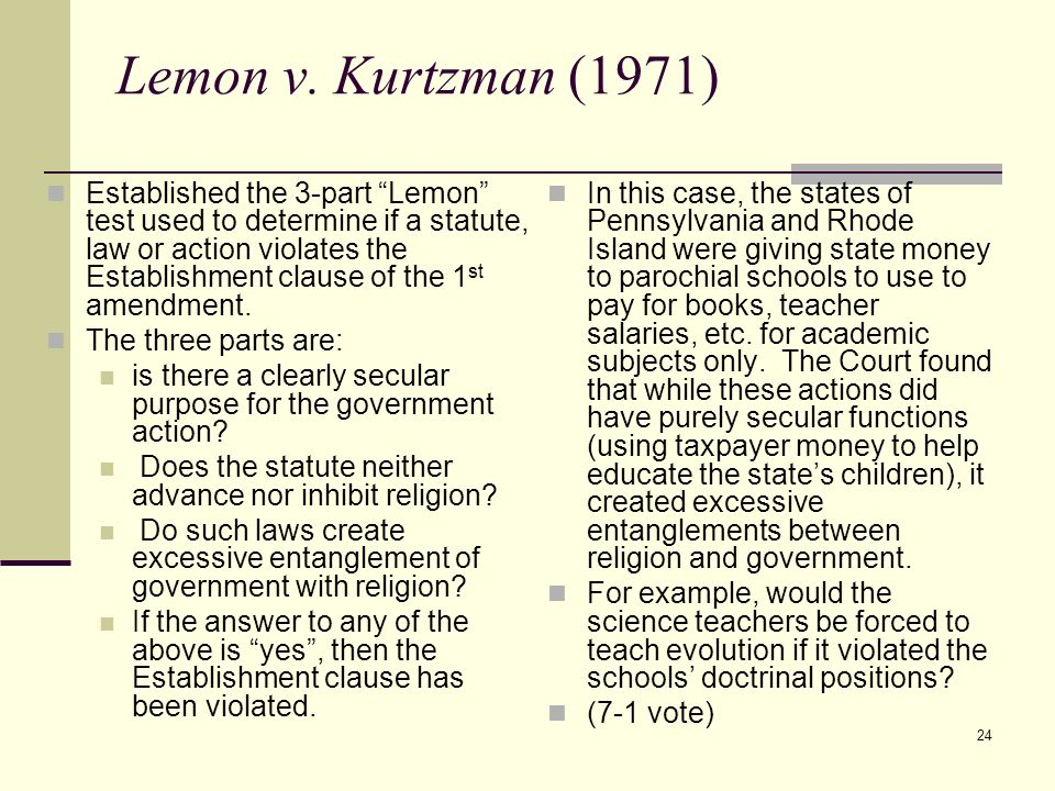 lemon vs kurtzman digest The lit­mus test—named the lemon test after the supreme court case lemon v kurtzman—sets out that a government  (daily) a daily digest of texas news.