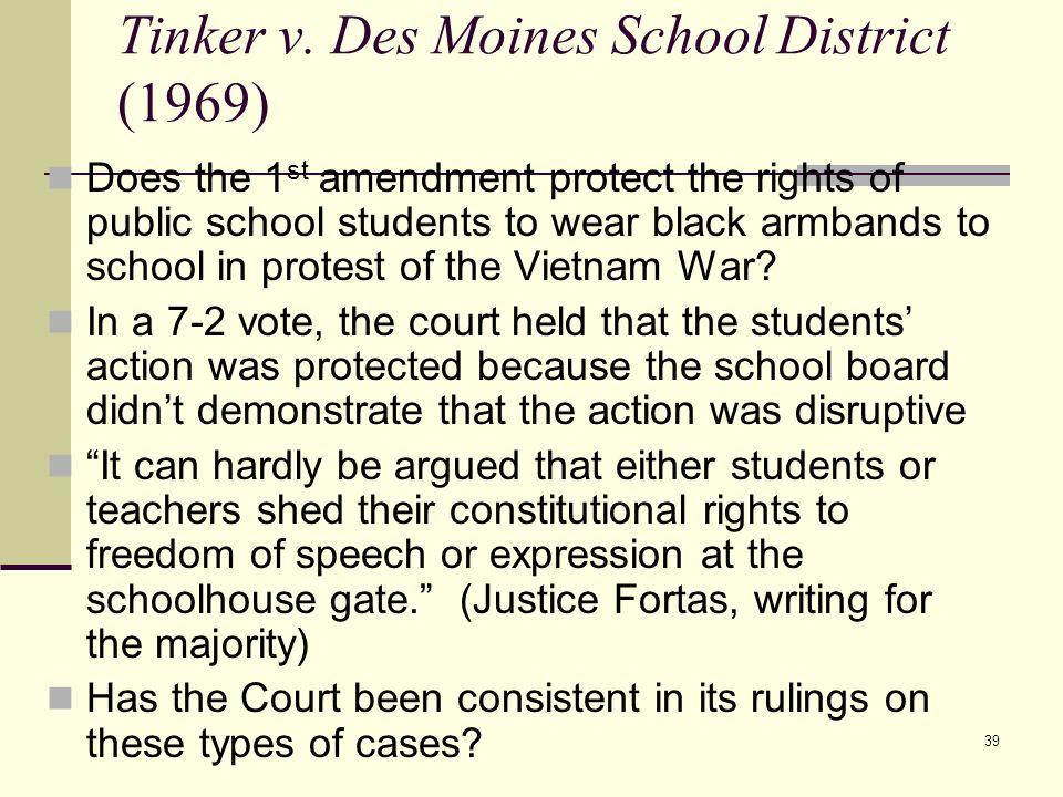 Tinker v. Des Moines School District (1969)
