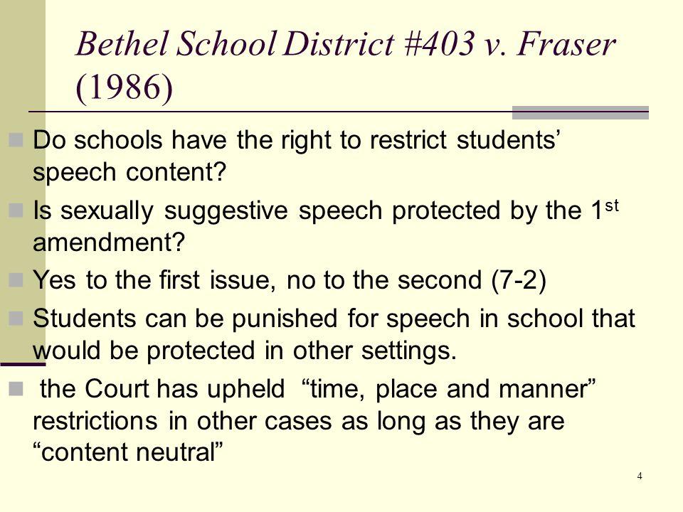 Bethel School District #403 v. Fraser (1986)