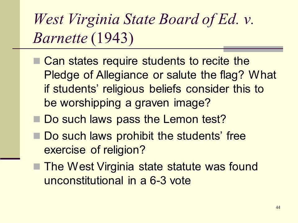 West Virginia v. Barnette: The freedom to not pledge ...